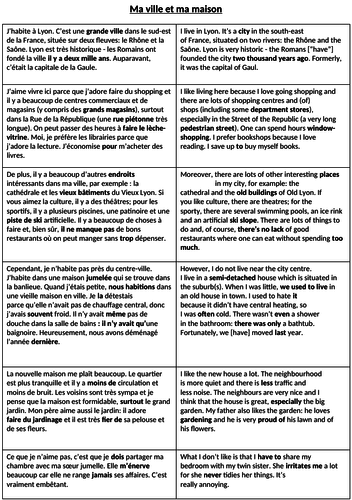 House and Town - Knowledge Organiser (Parallel Text)