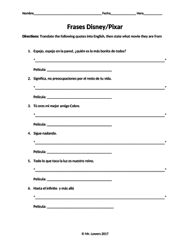 Disney Quotes Spanish Worksheet Activity Translation Practice / No Prep Sub Plan
