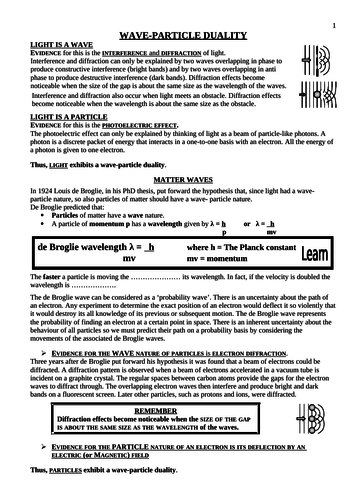 Wave Particle Duality Student Notes and Questions by davidjohnba