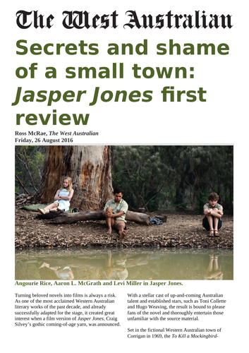 Newspaper article - Secrets and shame of a small town: Jasper Jones first  review