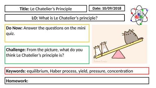 AQA GCSE Chemistry New Specification - C6 Le Chatelier's Principle