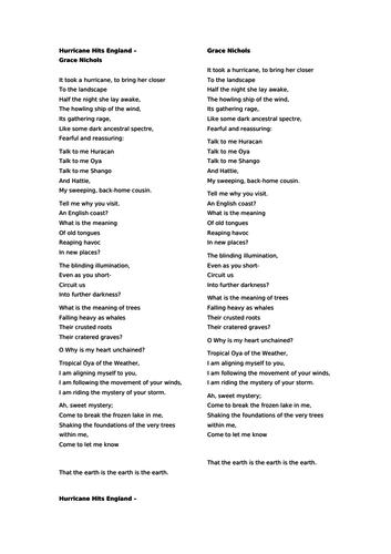 Grace Nichols Poetry Lesson