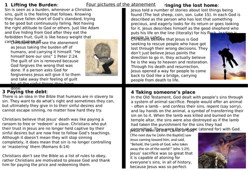 AQA GCSE RE RS - Christianity Beliefs - L7 Sin, Salvation and Atonement
