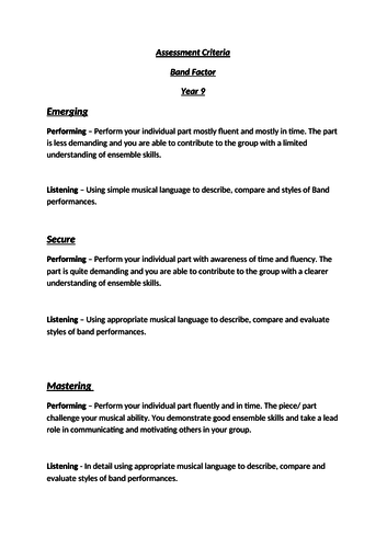 Assessment Criteria for Units of work (life without levels)