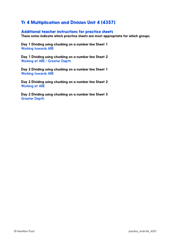 Practice Worksheets: Division using efficient chunking (Year 4 ...