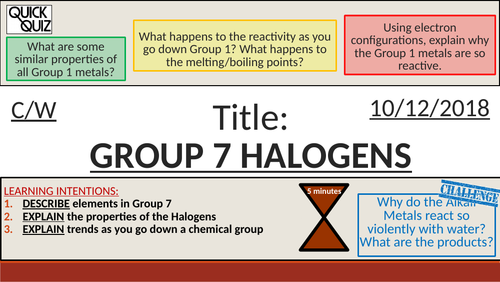 KS4 New GCSE (9-1) - Group 7 - The Halogens (AQA C2.4 The Periodic Table)