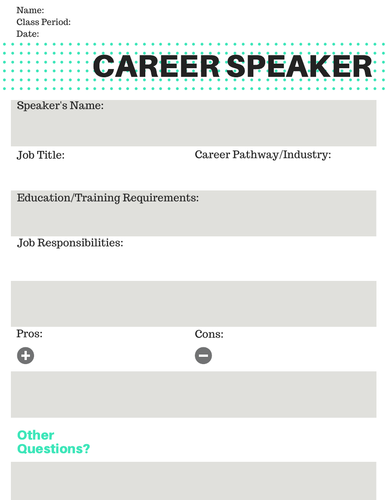 Career Speaker Worksheet