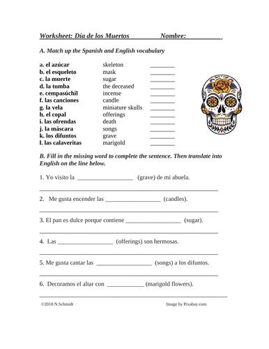 Día de los Muertos: Spanish Worksheet on Day of the Dead