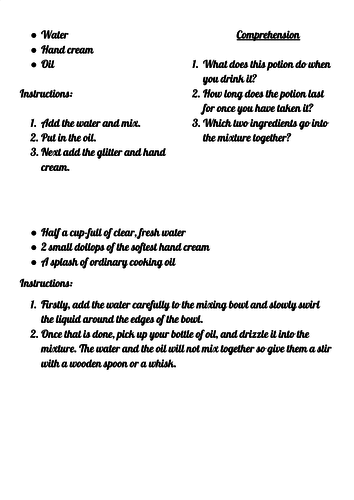Differentiated Comprehension - Instructions Year 1/2