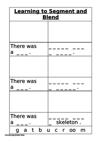 Blending and Segmenting to make words and sentences three worksheets - Year 1