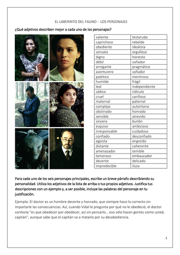 Spanish A Level - El laberinto del fauno: Los personajes (Pan's labyrinth: Characters) - UPDATED