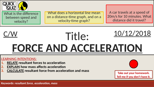 KS4 New GCSE (9-1) - Force and Acceleration (AQA P10.1 Force and Motion)