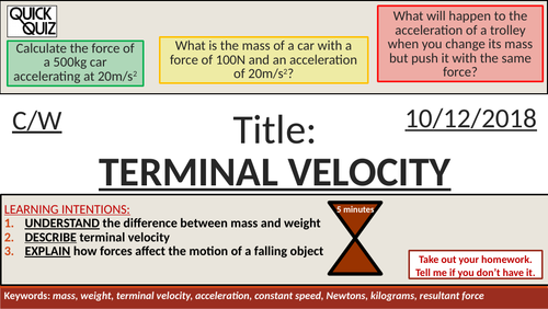 KS4 New GCSE (9-1) - Weight and Terminal Velocity (AQA P10.2 Force and Motion)