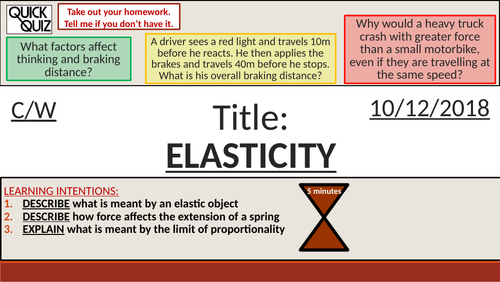 KS4 New GCSE (9-1) - Forces and Elasticity (Hooke's Law) (AQA P10.8 Force and Motion)