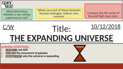 KS4 New GCSE (9-1) - The Expanding Universe + The Big Bang (AQA P16.4-16.5 Space)
