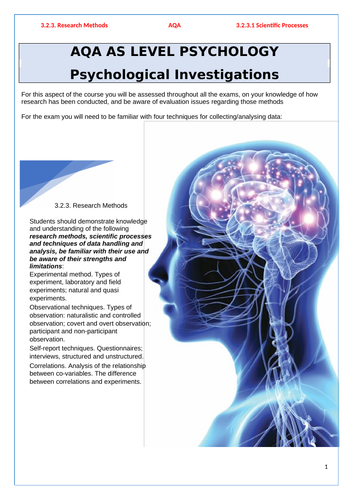 AQA Psychology - Research Methods - Pack 1 - Introduction to Research