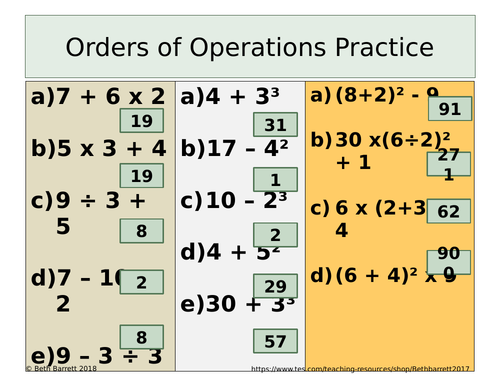 Orders of Operations Practice - Differentiated with answer - BIDMAS / BODMAS