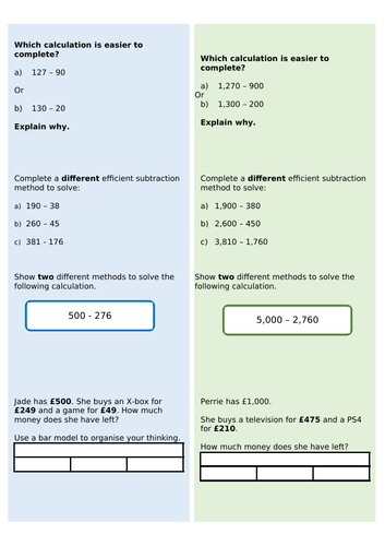 Year 4 - Efficient subtraction