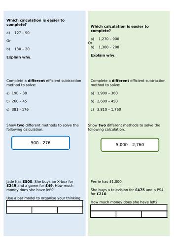 Year 4 - Efficient subtraction