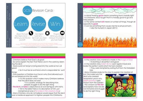 GCSE/KS4 RE I Good & Evil Philosophy Revision Cards