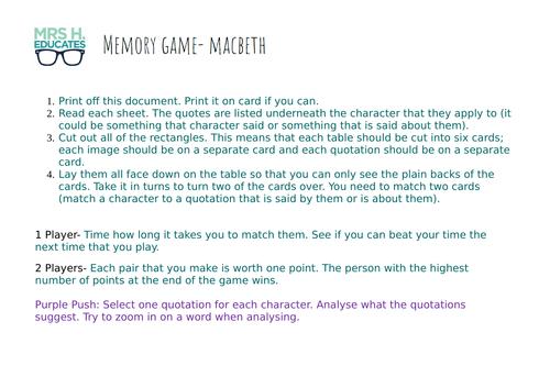 Macbeth Quotation Memory Game
