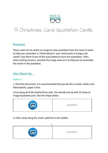 A Christmas Carol Quotation Cards