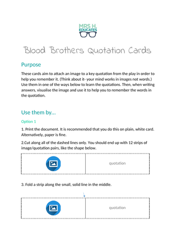 Blood Brothers Quotation Cards