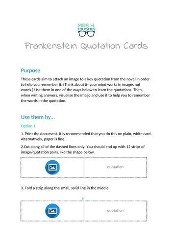 Frankenstein Quotation Cards