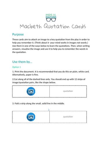 Macbeth Quotation Cards