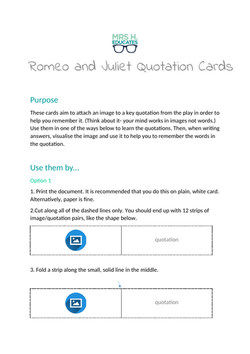 Romeo and Juliet Quotation Card