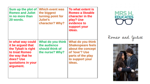 Romeo and Juliet Revision Task Grid