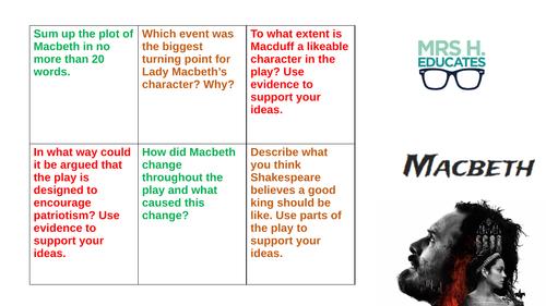 Macbeth Revision Task Grid