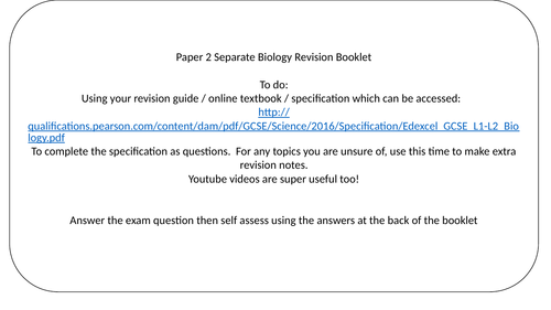 Edexcel biology paper 1 and paper 2 revision lists (foundation and
