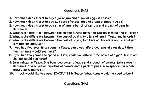 Fantastic real-life Maths for Tesco, Morrisons and Asda (differentiated 3 ways, including answers).