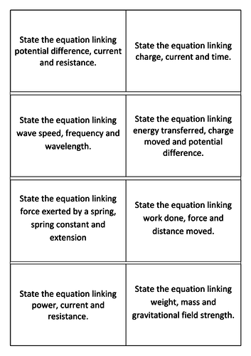 Edexcel 9-1 Equations Revision cards