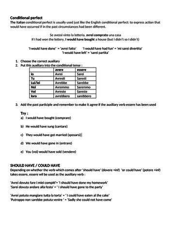 Italian Grammar and Tense Worksheets