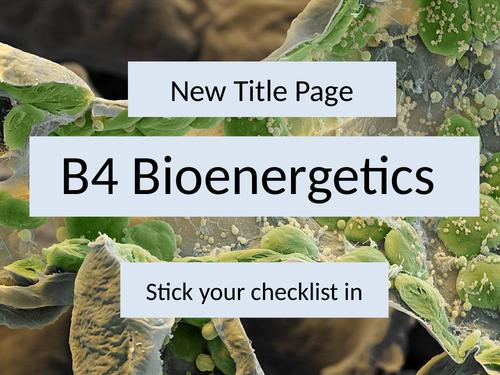 AQA GCSE Biology B4 Bioenergetics L1 Photosynthesis
