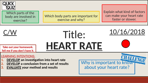 KS3 - Analysing Data - Heart Rate Investigation + Writeup