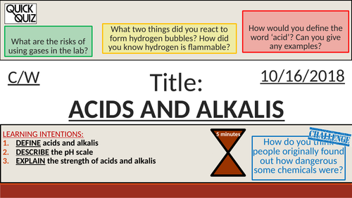 KS3 - Lab Work & Safety - Acids and Alkalis + pH Scale (Rainbow Fizz Experiment)