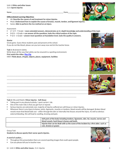 IGCSE PE (new spec 2018) 11.4: Sport Injuries