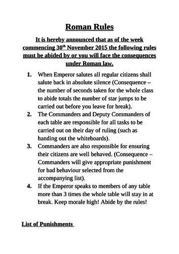 Roman Classroom Rules
