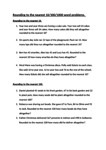 Word Problems Rounding to the nearest 10 , 100, 1000