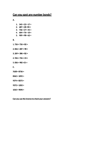 Differentiated Addition Questions ks2
