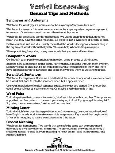 Verbal Reasoning - Tips and Methods