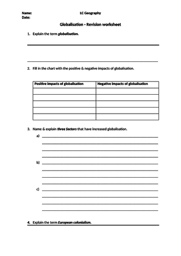 LC Geography - Globalization Revision worksheet