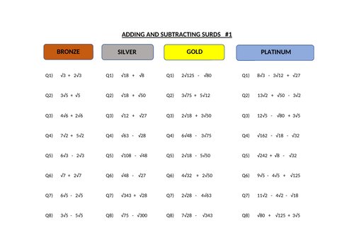 Surds - Adding and Subtracting    BSGP levels