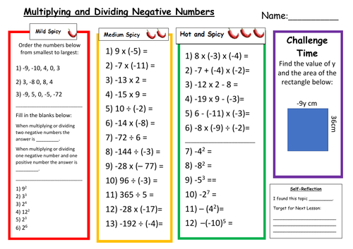 Multiplying and Dividing Negative Numbers Differentiated Worksheet