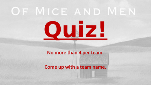 Steinbeck's 'Of Mice and Men' pub quiz - 7 rounds