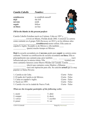 Camila Cabello Biografía: Bio & Worksheet Present Perfect: Perfecto (SUB  PLAN)