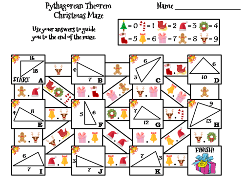 Christmas Math.Pythagorean Theorem Activity Christmas Math Maze